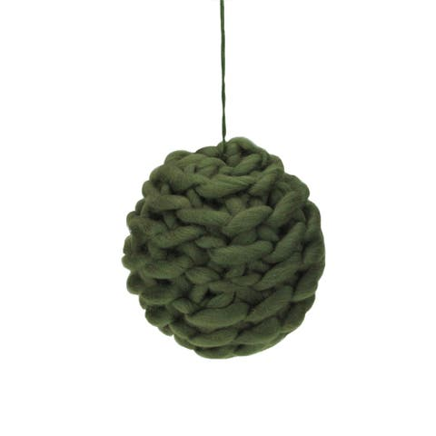 "Olive Green Knit Hanging Shatterproof Christmas Ball Ornament 7"" (177mm)"