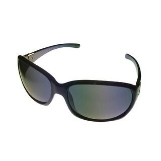 Jill Stuart Womens Sunglass JS 1038 1 Black Silver Plastic Wrap,Smoke Lens - Medium