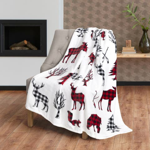 Throw Flannel Printed Ribbed Wildlife