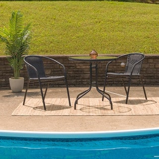 Link to 28'' Round Tempered Glass Metal Table with Rattan Edging Similar Items in Patio Furniture
