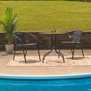 Link to 28'' Round Tempered Glass Metal Table with Rattan Edging Similar Items in Outdoor Sofas, Chairs & Sectionals