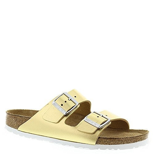 Birkenstock Women's Arizona Soft FootBed Sandal Gold Metallic Leather Size 42 EU
