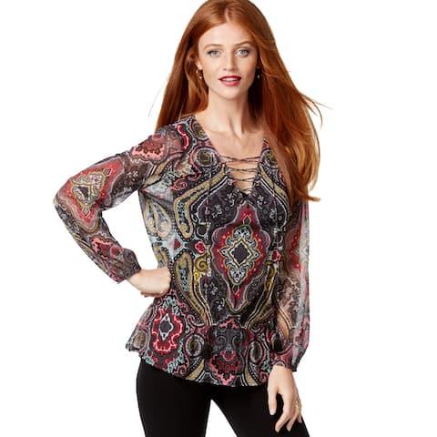 INC International Concepts Women's Paisley Lace-Up Peplum Blouse, Multi (XS)