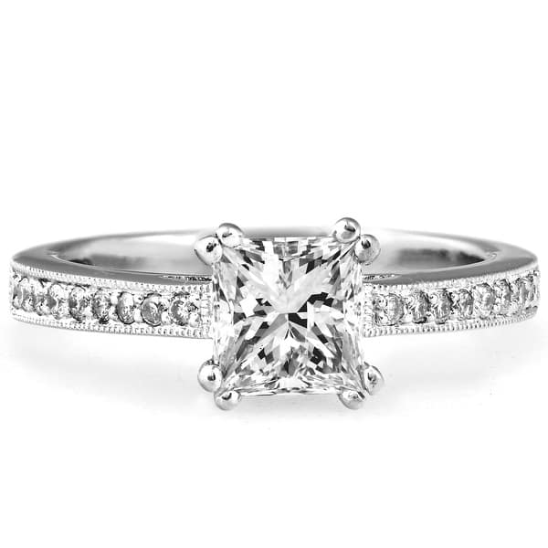 1 1 2 Ct Princess Cut Diamond Engagement Ring 18k White Gold I J Vs2 Si1 On Sale Overstock 31728227