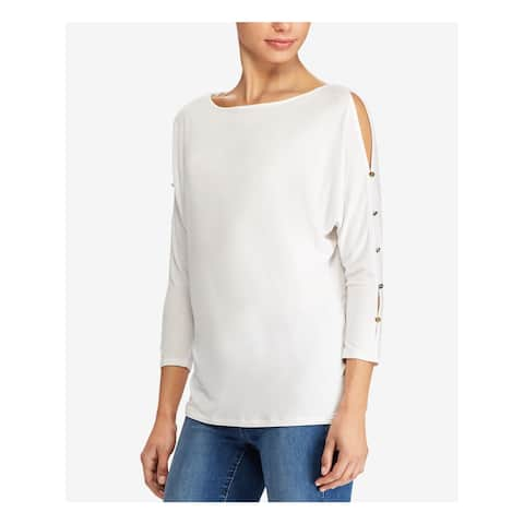 RALPH LAUREN Womens White Cut Out 3/4 Sleeve Boat Neck Tunic Wear To Work Sweater Size: L