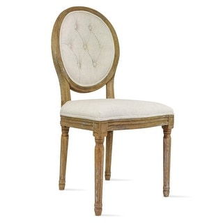 Link to 2xhome Cream Linen/ Beige Wood French Vintage Dining Chair with Button Tufting Similar Items in Dining Room & Bar Furniture