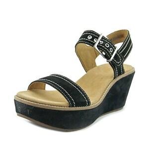 Clarks Artisan Aisley Orchid Women  Open Toe Suede Black Wedge Sandal