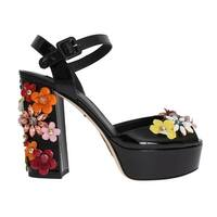 Dolce & Gabbana Black Leather Crystal Sandals