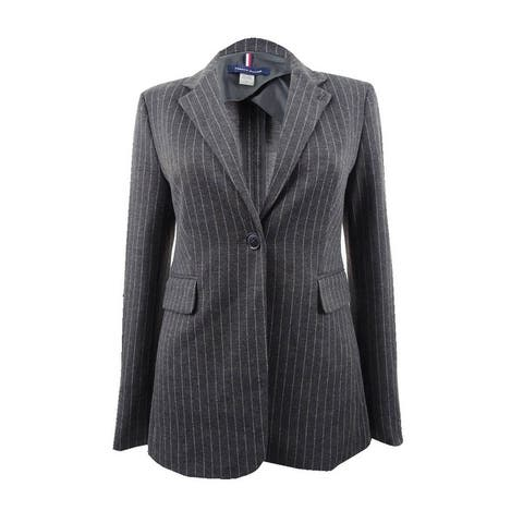 Tommy Hilfiger Women's Pinstriped One-Button Knit Jacket - Charcoal/Ivory