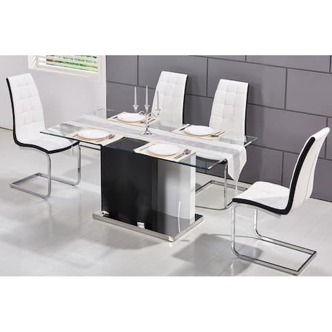 Best Master Furniture 63 Inch 5 Pieces Glass Dining Set