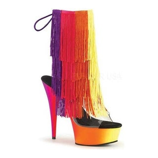 Pleaser Women's Rainbow 1017TF-6 Fringed Open-Toe Bootie Clear PVC-Multi/Neon Multi