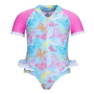 Sun Emporium Baby Girls Pink Butterfly Garden Short Sleeve Sun Suit