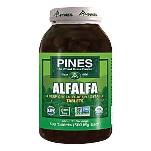 Pines Alfalfa Tablets - 500 Tablets - Maintain Healthy Skin - Cleansing - Hair Growth - Digestive - Boost Immunity