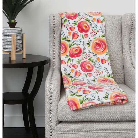"50x70"" Flora Flowers Printed Fleece Throw"