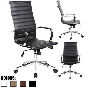2xhome -Blk Modern High Back Ribbed PU Leather Tilt Adjustable Chair