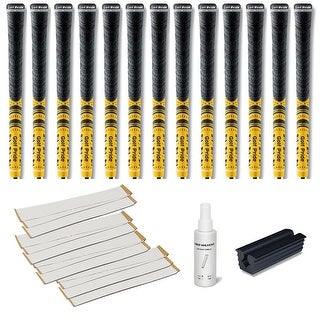 Golf Pride New Decade Multicompound (MCC) Yellow - 13 pc Golf Grip Kit (with tape, solvent, vise clamp)