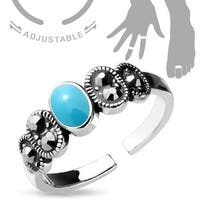 Black Diamond Crystal and Turquoise Center Adjustable Toe Ring/Mid Ring (Sold Ind.)