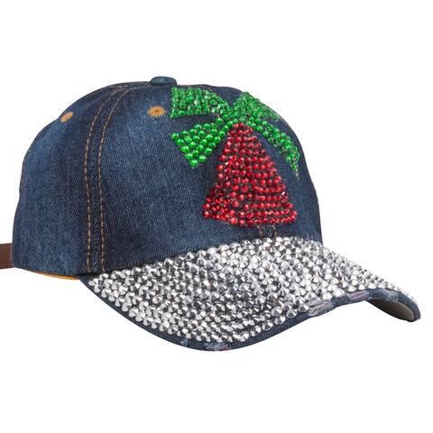 Top Headwear Studded Christmas Bell Denim Baseball Cap