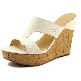 Ivanka Trump Hotty Open Toe Leather Wedge Sandal