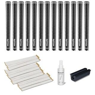 Golf Pride Tour Wrap 2G Undersize Black - 13 pc Golf Grip Kit (with tape, solvent, vise clamp)