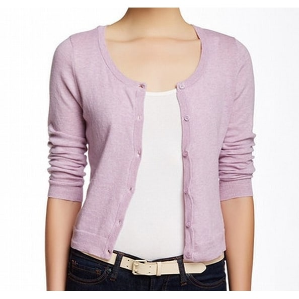 6c8ae1159f3 Shop Wild Pearl NEW Purple XL Junior Cropped Button-Front Cardigan Sweater  - Free Shipping On Orders Over  45 - Overstock - 17786542