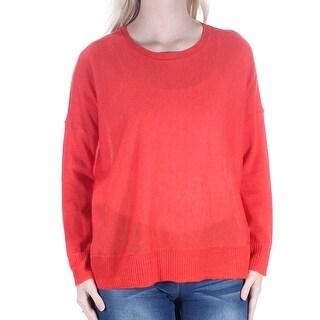 Womens Orange Long Sleeve Jewel Neck Casual Hi-Lo Sweater Size S