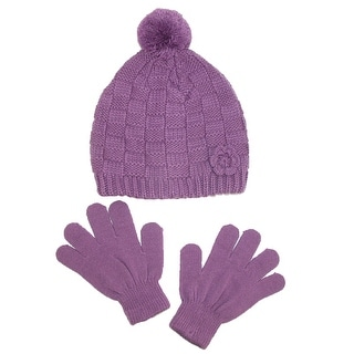 CTM® Girls' Knit Hat with Rosette and Gloves Winter Set - One Size