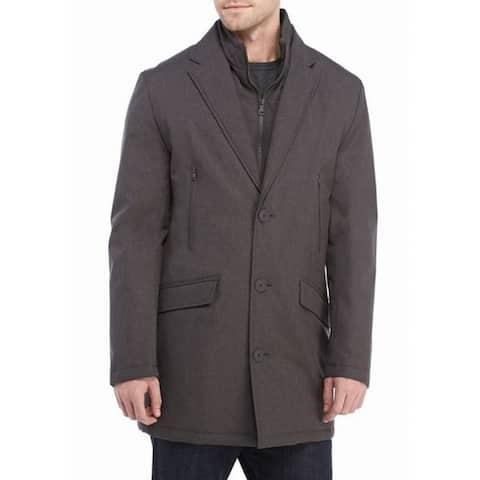 Tommy Hilfiger Mens Jacket Gray 40L Modern-Fit Button-Front Rainwear