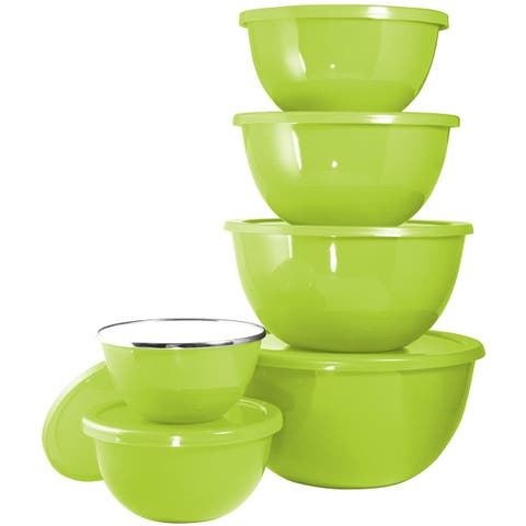 Calypso Basics by Reston Lloyd 12-Piece Enamel on Steel Bowl Set with Airtight Lids, Lime