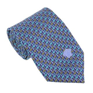 Versace Tourquoise Green Woven Cubic Tie