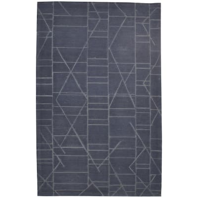 """One of a Kind Hand-Tufted Modern & Contemporary 5' x 8' Geometric Wool Black Rug - 5'0""""x8'0"""""""