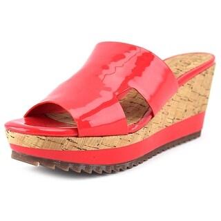 Delman Viva Open Toe Patent Leather Wedge Sandal