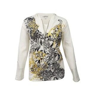 Style & Co. Women's Paisley Quarter-Zip Hoodie Sweatshirt (1X, Winter White) - Winter White