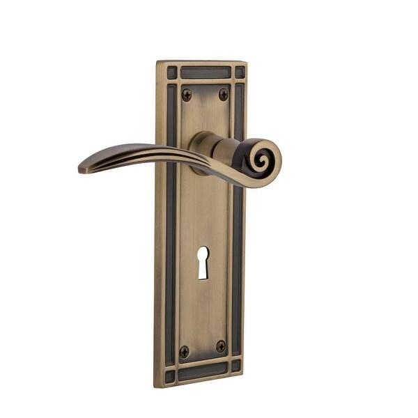 "Nostalgic Warehouse MISSWN_PSG_238_KH Swan Passage Door Lever Set with Mission Rose and Decorative Keyhole for 2-3/8"" Backset"