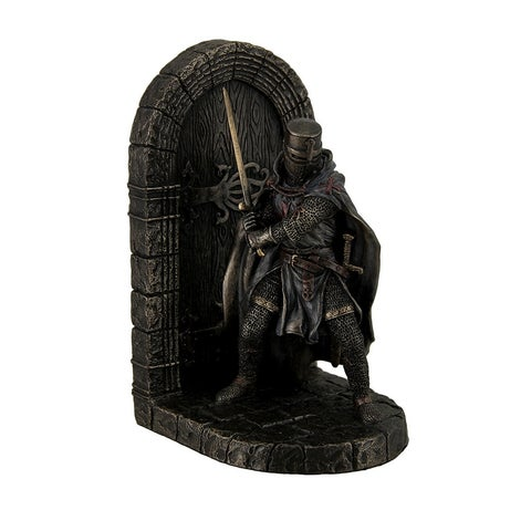 Maltese Crusader In Armor Guarding Door Holding Sword Decorative Bookend