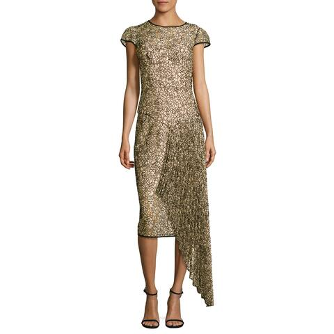 Milly Margaret Short Sleeve Corded Lace Cocktail Dress Ballet