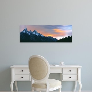 Easy Art Prints Panoramic Images's 'Sunset over mountain range, Grand Teton National Park, Wyoming' Premium Canvas Art