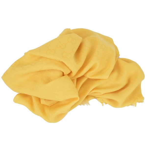 Gucci 165903 XL Banana Yellow Wool Silk GG Guccissima Logo Scarf Shawl