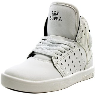 Supra Atom  Youth  Round Toe Leather White Sneakers