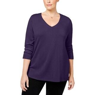 Karen Scott Womens Plus Sweater V-Neck Acrylic