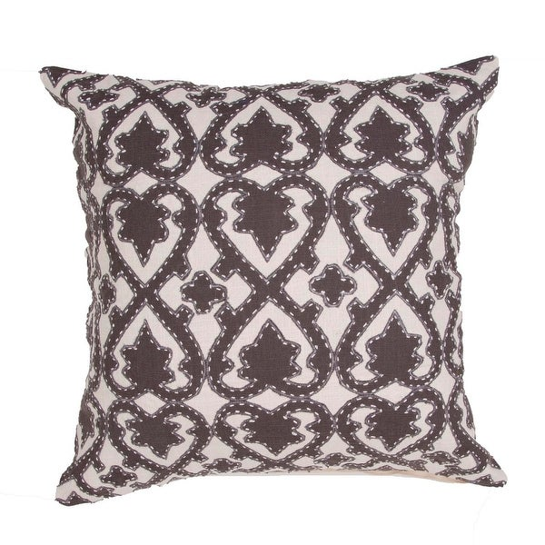 """22"""" Black Walnut and Light Tan Cotton Floral Pattern Indoor Decorative Throw Pillow"""