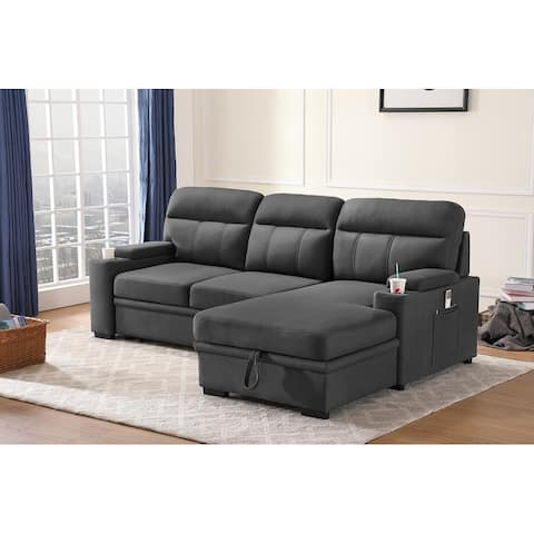Kaden Fabric Sleeper Sectional Sofa with Storage Chaise and Arms