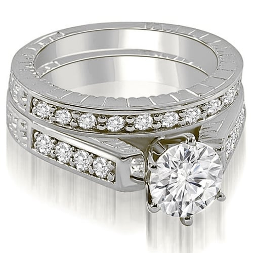 1.30 cttw. 14K White Gold Antique Cathedral Round Cut Diamond Bridal Set