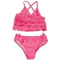 Absorba Little Girls Pink Tiny Heart Pattern Ruffle 2 Pc Swimsuit