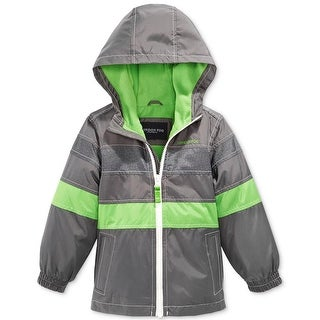London Fog Boys 4-7 Reflective Fleece Hooded Spring Jacket - Grey