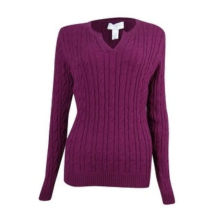 Charter Club Women's V-neck Cable Knit Sweater - 0X