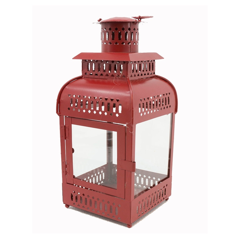 Distressed Red Finish Metal Decorative Candle Lantern 16 Inches Tall Burgundy