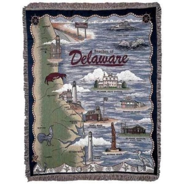 "Beaches of Delaware Lighthouse Tapestry Throw Blanket 50"" x 60"""