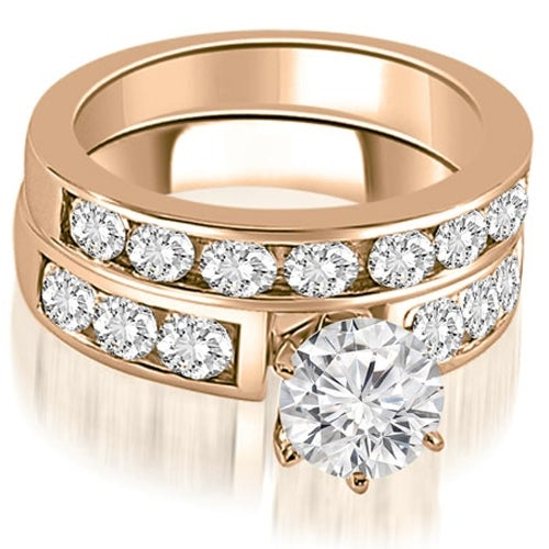 2.25 cttw. 14K Rose Gold Classic Channel Set Round Cut Diamond Bridal Set