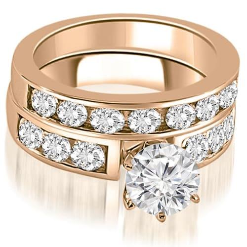 2.50 cttw. 14K Rose Gold Classic Channel Set Round Cut Diamond Bridal Set